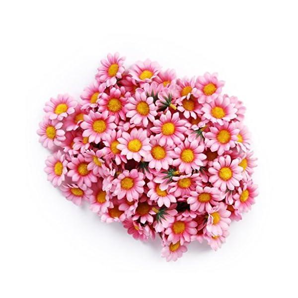SEADEAR 100 Pcs Diameter 3.5cm Artificial Flower Petals Sunflower For Home Decoration Wedding Decor with Stylus(Pink)