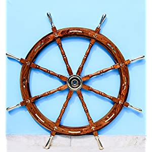 Nautical Premium Sailor's Hand Crafted Brass & Wooden Ship Wheel | Luxury Gift Decor | Boat Collectibles | Nagina International (36 Inches, Anchor & Strips With Brass Handles)