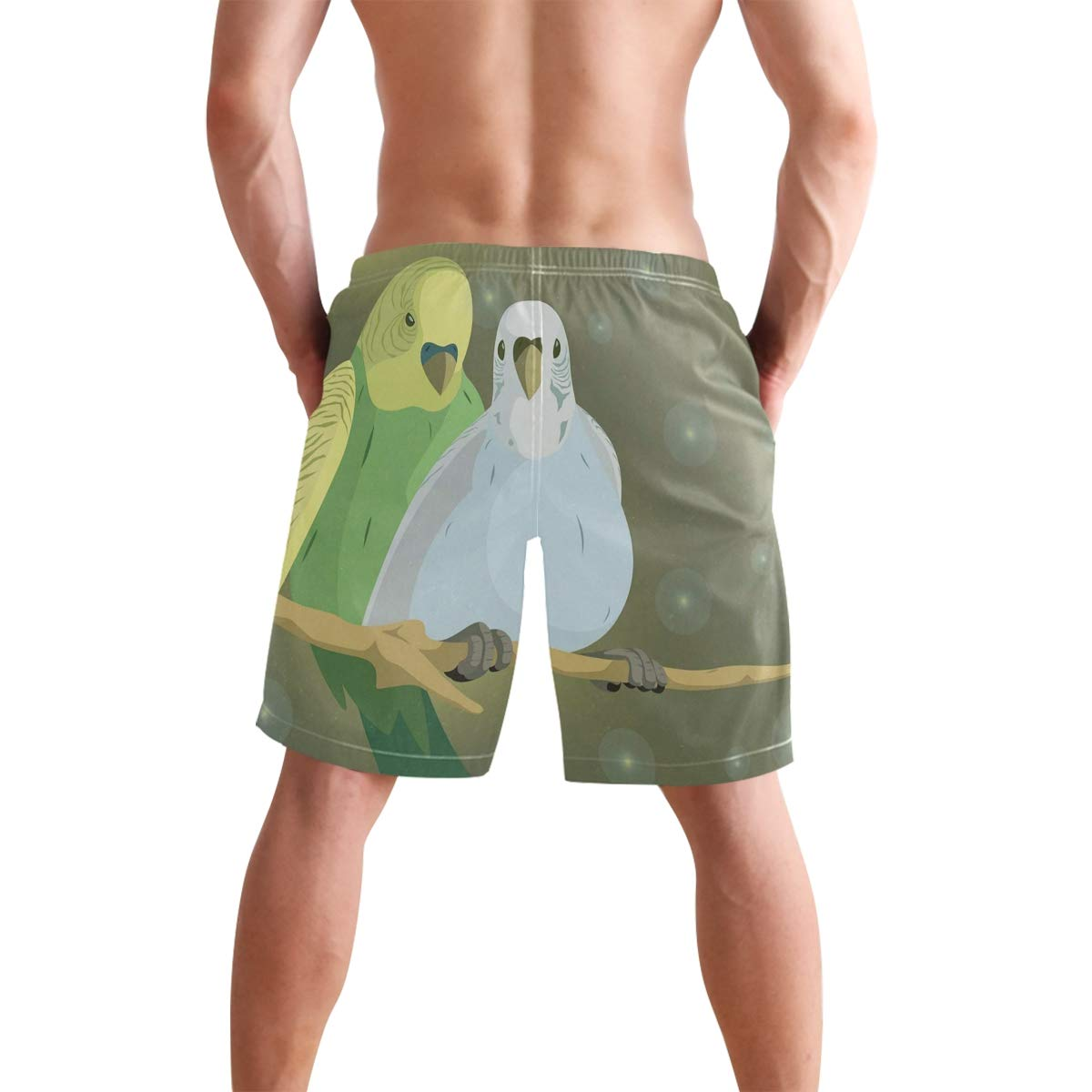 Mens Swim Trunks Summer 3D Print Budgie Couple Casual Athletic Swimming Short
