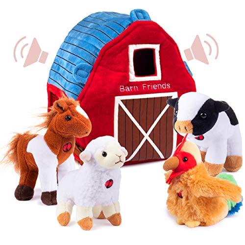 Plush Creations Plush Farm Animals for Toddlers with Plush Barn House Carrier. Animal Farm Set Includes 4 Talking Soft Cuddly Plush Stuffed Animals, A Plush Cow Plush Horse Plush Lamb Plush Rooster