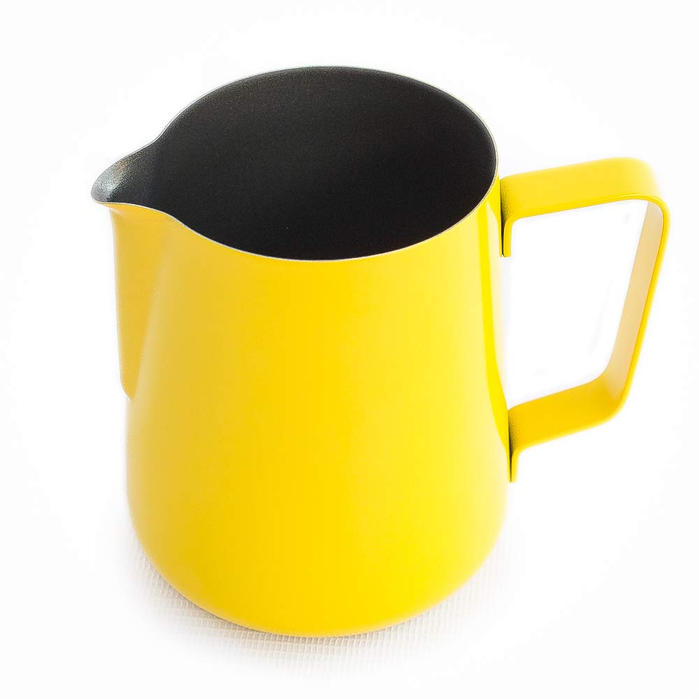 Espresso Milk Frothing Pitcher Yellow 20 oz (600 mL), Made from Stainless Steel with Non-stick Teflon, Barista Tools, Perfect for Latte Art, Espresso Accessories, Milk Frother Pitcher, Coffee Pitcher by CSN Prodotti