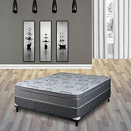 Continental Sleep 10 Plush Mattress Fabric Stretch Knit With 8 Wood Foundation Box Spring Grey And White Full