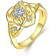 GOMAYA Women Charms Jewelry Classic Platinum Plating Zircon Botany Statement Rings