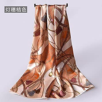FLYRCX Señoras Imprimir Flores Pañuelo de Seda Satin Scarf Pañuelo  Decorativo Vestido pañuelo de Seda 88cmx88cm b5fd0e57584d