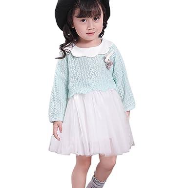 3b20877ec2ce3 Shiningup Kids Baby Girls Knitted Sweater Winter Pullovers Crochet Tutu  Dress Tops Underwear Outfit 1-6 Years Little Girl by