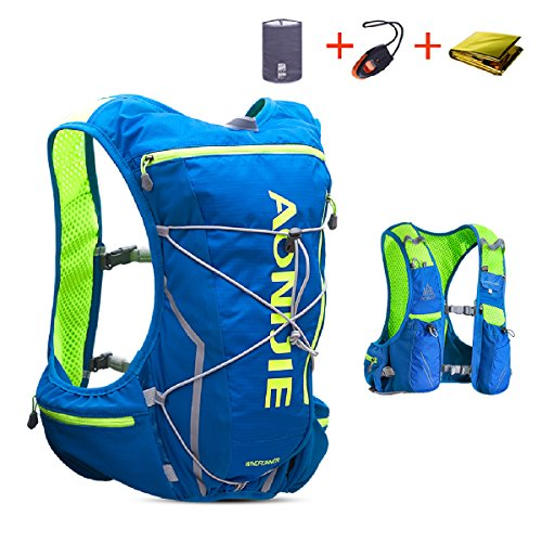 TRIWONDER Hydration Pack Backpack 10L Deluxe Running Race Hydration Vest Outdoors Mochilas for Marathon Running Cycling Hiking (Blue&Green - Only Vest, L-XL)