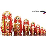 Russian Nesting Doll - Kirov - VJATKA - Hand Painted in Russia - Medium Size - Wooden Decoration Gift Doll - Matryoshka Babushka (Design A, 6.5``(7 Dolls in 1))