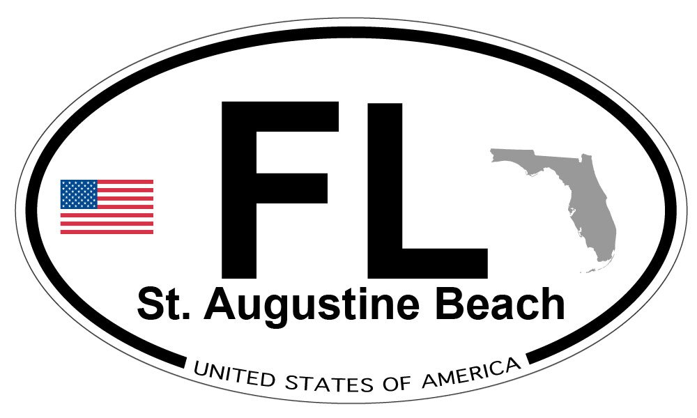 Amazon com st augustine beach florida oval sticker automotive