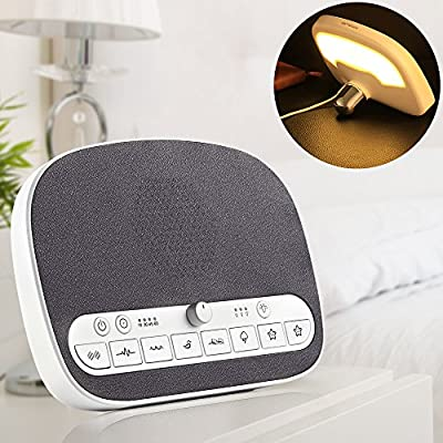 Sound Machine Sleep Therapy, White Noise Machine with Night Light, Timer/Play All Night for Sleeping, Adult, Baby, Office Privacy, 8 Natural Smoothing Music, USB Output Portable Sound Machine Traveler