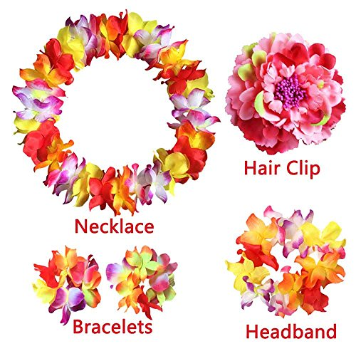 5PCS - Hawaiian Flower Leis Jumbo Necklace - Bracelets - Headband - Hair Clips Set, Hawaiian Luau Party Supplies Party Favors -