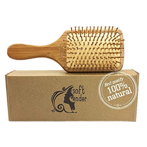 Natural Wooden Bamboo Hair Brush For Thick,Straight,Long,Curly,Wavy,Short Hair,Eco-Friendly Bamboo Bristles Pin Hairbrush Scalp Massage Improve Hair Health,Paddle Detangling Hair Brushes