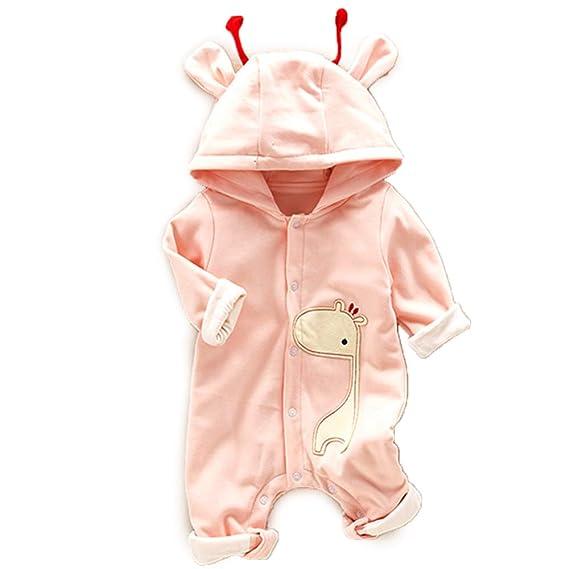 667d53773dbb Amazon.com  PatPat Hooded Romper Long Sleeve Jumpsuit Cute Giraffe ...