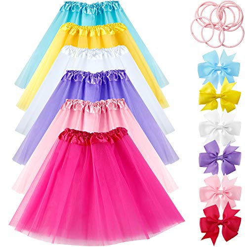 6 Pieces Tutu Skirts with 6 Pieces Butterfly Hair Clip and 10 Pieces Hair -