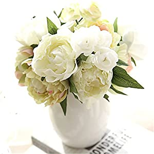 JJH Artificial Flowers 8Pcs Branch Others Real Touch Peonies Tabletop Flower 71