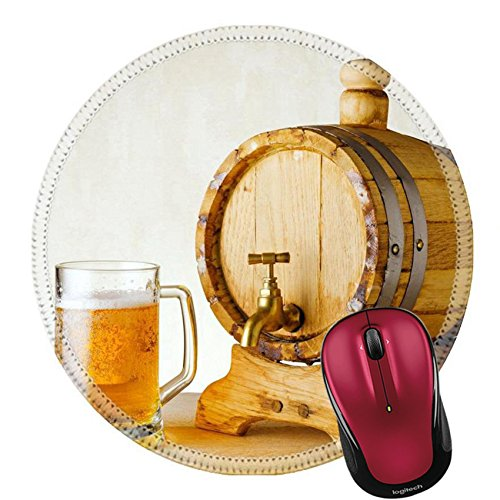 Liili Round Mouse Pad Natural Rubber Mousepad beer and on the wood table IMAGE ID - Fre Amber