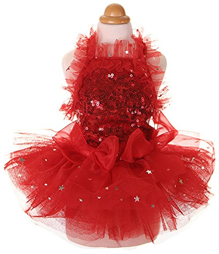 [MaruPet Fashion Sweet Puppy Dog Blingbling Princess Skirt Pet Dog Lace Cake Camisole Tutu Dress Red] (Star Wars Dog Costumes Ewok)