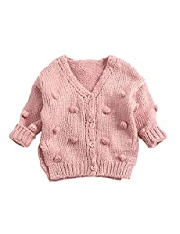 Infant Baby Toddler Boy Girl Knitted Cardigan Sweater Fall Winter Ball in Hand Down Warm Coat Clothes 3-24 Month