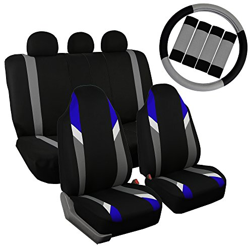 FH Group FB133115 Full Set Premium Modernistic Seat Covers Blue/Black W. FH2033 Steering Wheel Cover & Seat Belt Pads - Fit Most Car, Truck, SUV, or Van