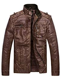 Wantdo Men's Vintage Stand Collar Pu Leather Jacket US Large Coffee