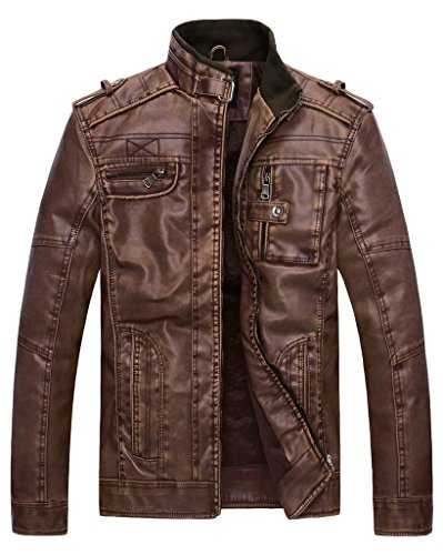 Wantdo Men's Vintage Stand Collar Faux Leather Jacket - US Large - Coffee