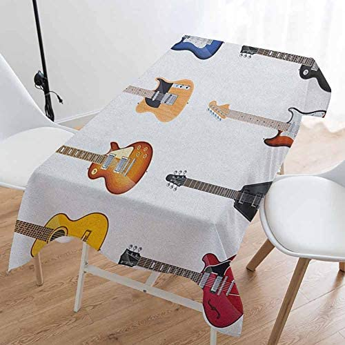 DILITECK Guitar Modern Rectangle Tablecloth A Wide Variety of String Instruments Realistic Musical Pattern Jazz Blues Acoustic Picnic Cloth 60 x 84 Icnh Multicolor / DILITECK Guitar Modern Rectangle Tablecloth A Wide Variety of Str...