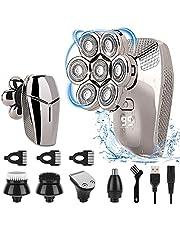 Rakapparater för män, Merisny 7D elektrisk rakapparat för skalliga män, 5-i-1 elektrisk rakapparat för män och rakapparat, USB-uppladdningsbar, LED-skärm, IPX7 vattentät våt torr trådlös roterande rakapparat groomingkit