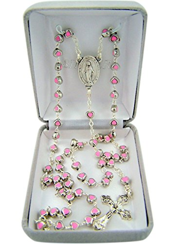 Catholic Silver Tone Pink Enamel Prayer Bead Rosary Necklace with Miraculous Medal Centerpiece, 19 Inch