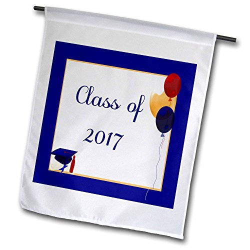 3dRose Beverly Turner Graduation Design - Class of 2017, Balloons, Cap, and Diploma, Blue, Red, Yellow - 12 x 18 inch Garden Flag (fl_234602_1) -