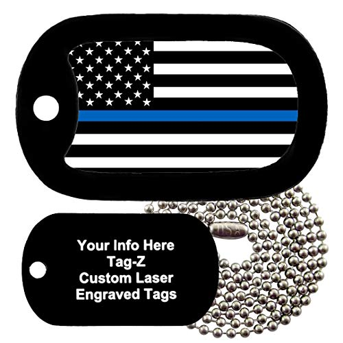Tag-Z Military Dog Tags - Custom Engraved Thin Blue Line Flag Police Military Dog Tag Necklace