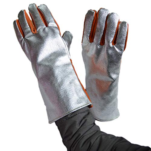 Man&Y 932 ° Guantes Extremos Resistentes al Calor Guantes de Soldadura Fibra de Papel de Aluminio Guantes para Barbacoa...