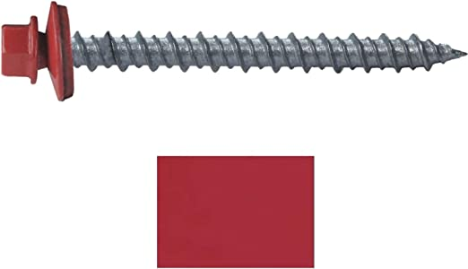 Amazon Com Metal Roofing Screws 250 10 X 2 Crimson Red Hex Head Sheet Metal Roof Screw Self Starting Metal To Wood Siding Screws Epdm Washer Colored Head Home Improvement