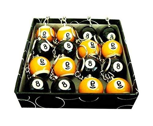 16 Pool Ball Keychains - Aromzen Pool Ball Scuffer Key Chains - 8 Each of Eight Ball & Nine Ball