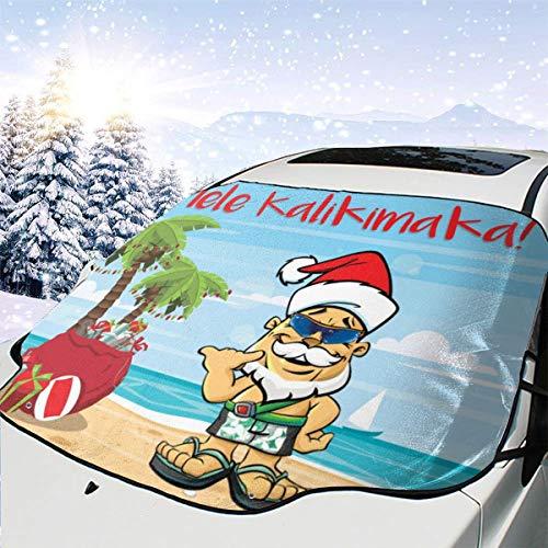 Mele Kalikimaka Christmas Hawaii Tree Santa Beach Themed Pattern Front Windows Cover Windshield Sun Shade Car Decor Sunshade Accessories Auto Outdoor Exterior Ornament Visor Kit for Women Men