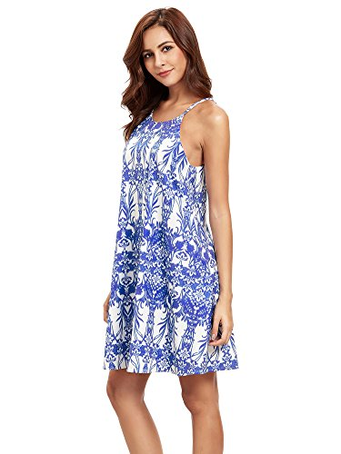 Floerns Women's Summer Spaghetti Strap Boho Dress Blue (Halter Sundress Dress)