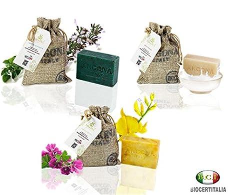 ANGONA Paquete de Jabón Orgánico Certificado 3 tipos x 100g -con Malva y Ginestra,con Leche ...
