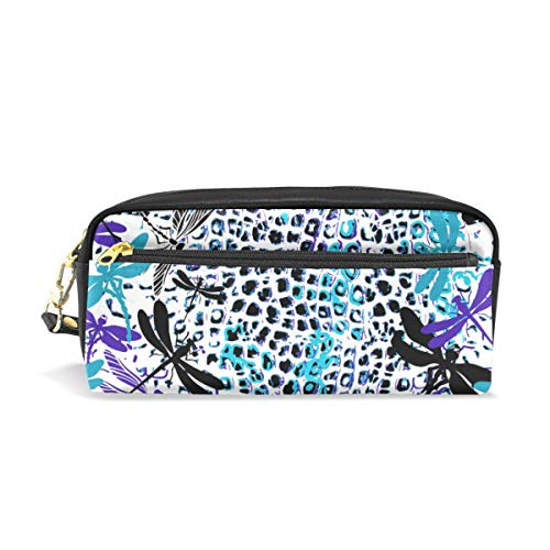 Pencil Case Leopard Skin Blue Purple Black Dragonfly Large Capacity Pen Bag Stationery Pouch Stationary Case Makeup Cosmetic Bag]()