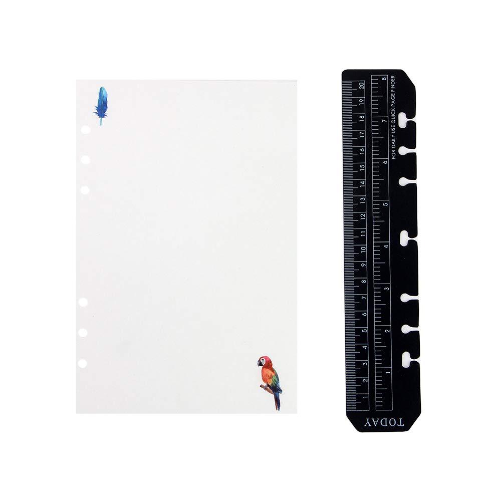 YHH Recambio Libreta 6 Anillas con Regla, Hojas Blanco/Unruled/Blank, A5 Notebook Refill para Cuaderno/Diario/Organizado/Bullet Journal/Bloc de Notas, Bonita, 180 Paginas Unlined/Plain/Blancas Colors YUHE