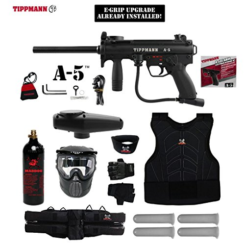 MAddog Tippmann A5 A-5 w/Selector Switch E-Grip Starter Protective CO2 Paintball Gun Package - Black (Grip Paintball Gun Starter Package)