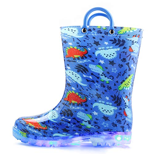 KomForme Boy Toddler Rain Boots with Light,Environmental Material Kids Glitter Shoes with Memory Foam Insole Easy-on Handles (2 M US, Dinosaur)