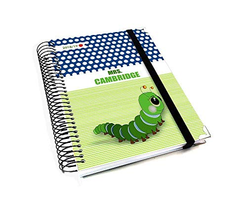 Personalized Teacher 2019/20 Planner for Lesson Planning, Green Stripes and Blue Polka Dots with Caterpillar