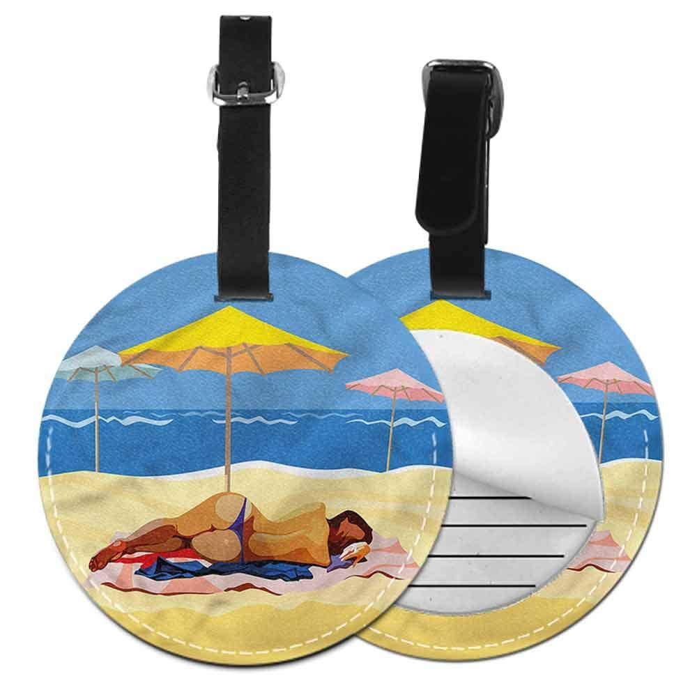 Men Luggage Tag Beach,Wood Boardwalk Pebble Coast Name Tags