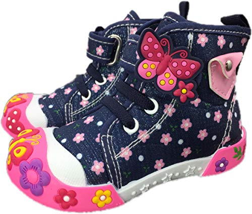 Chulis Toddler Girl Shoes Sneakers Shoes for Girls Sizes 3 to 8 (5 M US, Navy Blue)]()
