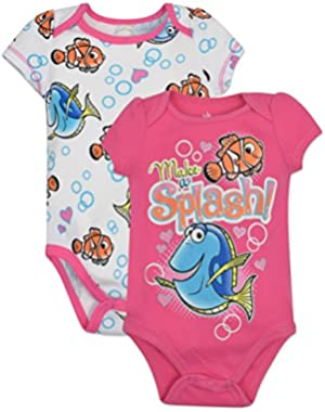 Baby Girls' Finding Dory Onesies 2-Pack - Pink,