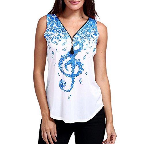 Opeer Clearance Women Zipper Musical Print T Shirts Sleeveless Tank Top V-Neck Tops (Sky Blue, 2XL) (Musical Foil)