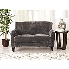 Great Bay Home 2 Piece Modern Velvet Plush Strapless Slipcover. Stretch Furniture Cover. Sorrento Collection