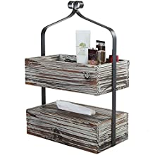 2 Tier Rustic Torched Wood Shelf Rack with Tissue Dispenser, Countertop Organizer Box