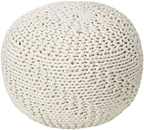 Christopher Knight Home Hazel Indoor Outdoor Fabric Weave Pouf, Ivory
