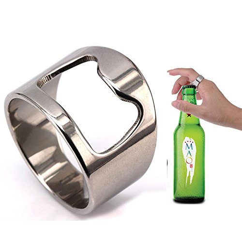Tuji Beer Bar Tool Creative Versatile Stainless Steel Finger Bottle Opener Ring Party Ring (11.5)