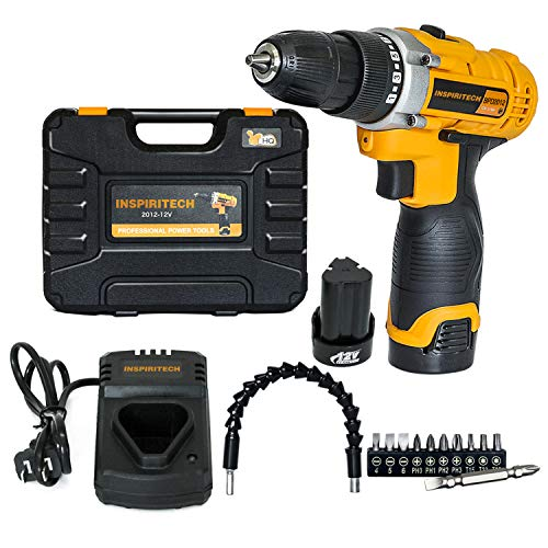 Inspiritech 12V Cordless Drill/Driver Variable Speed 3/8Inch Keyless Chuck 16 Clutch Positions with 2 Lithium Ion Batteries and Charger, Front LED Light ,12 Accessories