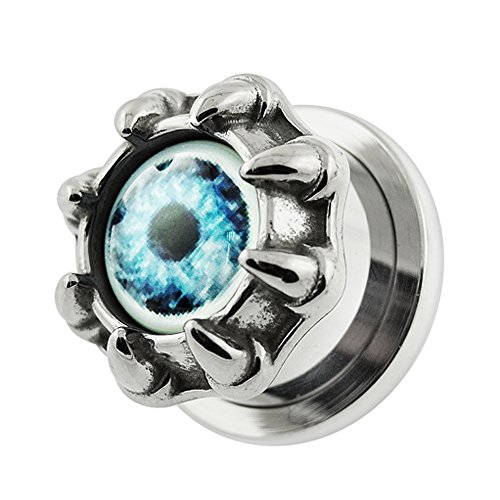 1/2 Inch - 12MM Monster Eye with Dragon Claw 316L Surgical Steel Screw Fit Flesh Tunnel Ear Plugs